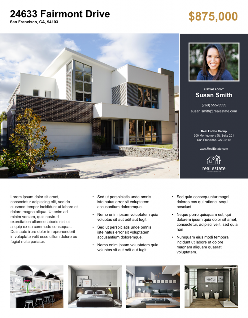 Example of a real estate flyer optimized for home details.
