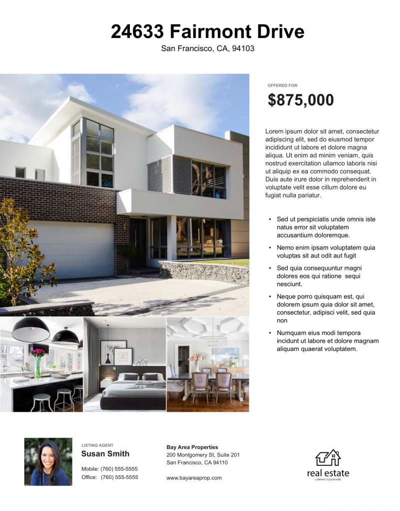 Example of a real estate flyer with feature highlights.