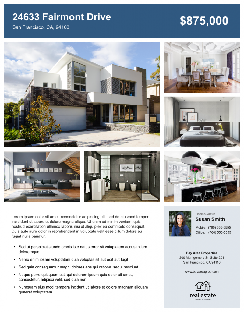 Example of an image heavy real estate flyer.