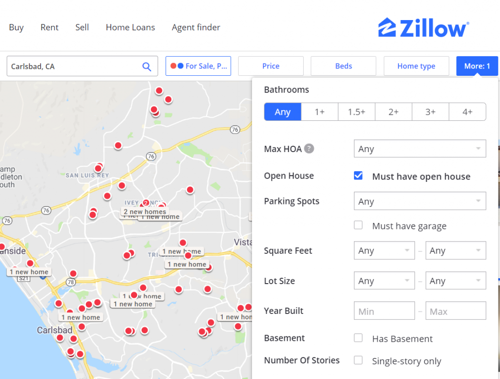 A map of home listings on Zillow.