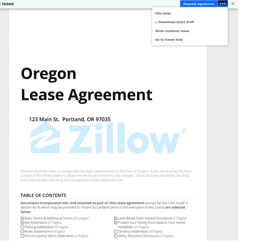 Zillow Rental Property: Free Rental Lease Agreement