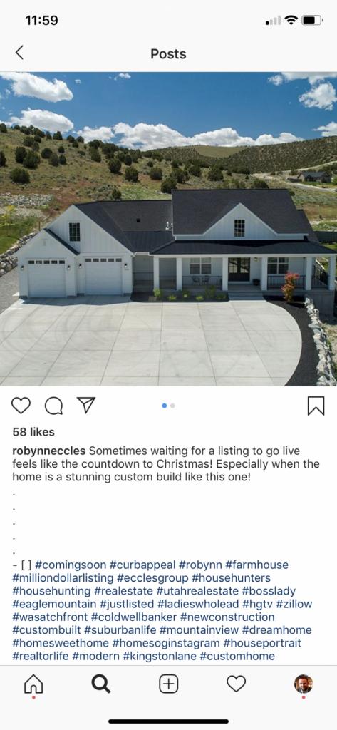 Un exemple de publication Instagram utilisant des hashtags immobiliers.