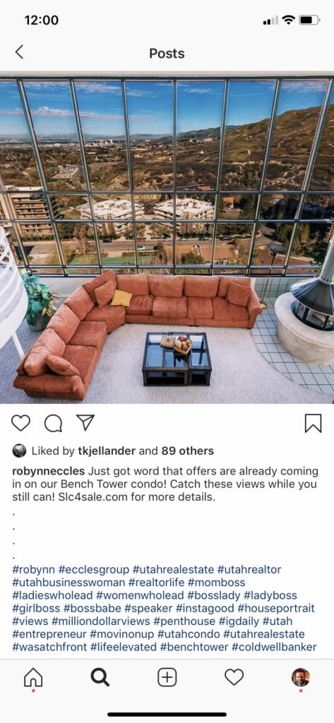 Un exemple de publication Instagram utilisant des hashtags immobiliers pour vendre une maison.