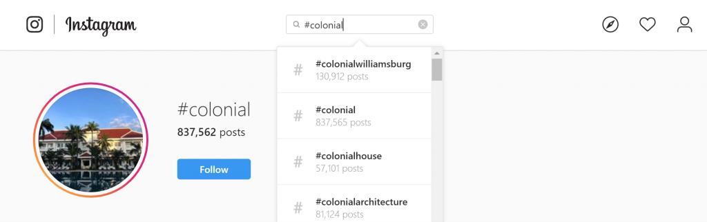 """Résultats de recherche pour le hashtag immobilier """"#colonial"""" sur Instagram."""