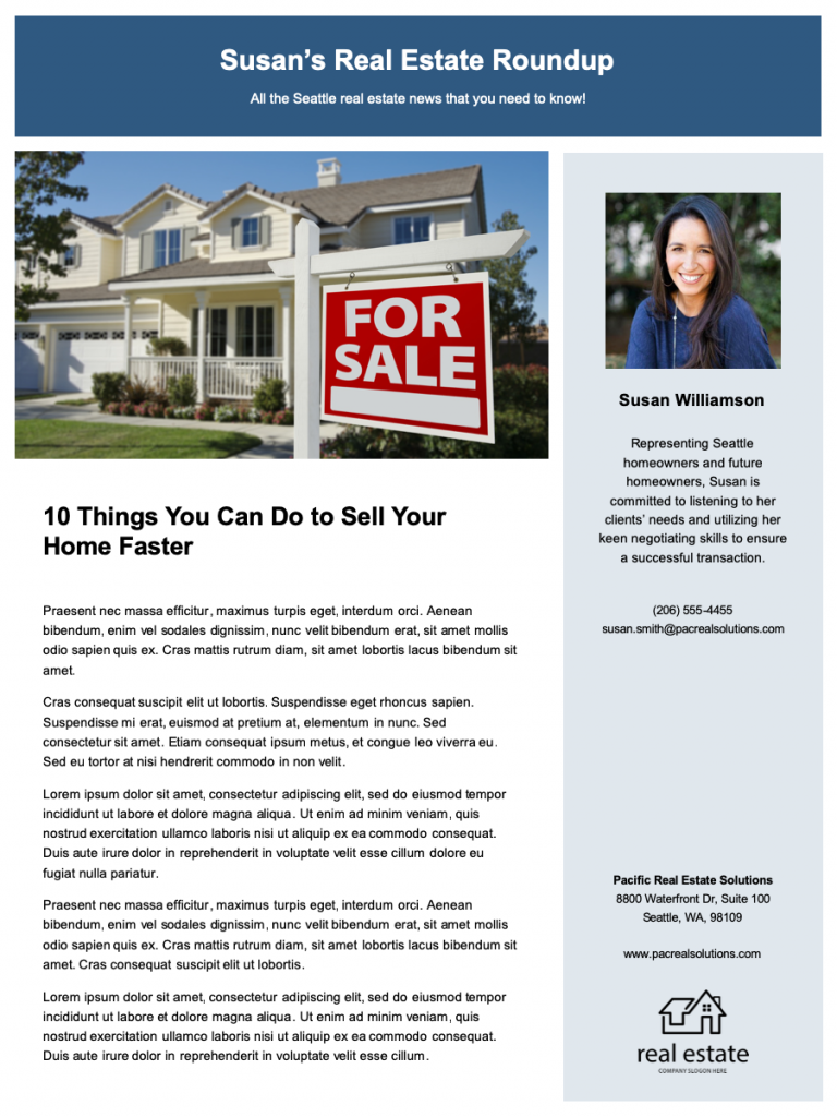 10 Real Estate Newsletter Essentials And Templates Zillow Premier Agent