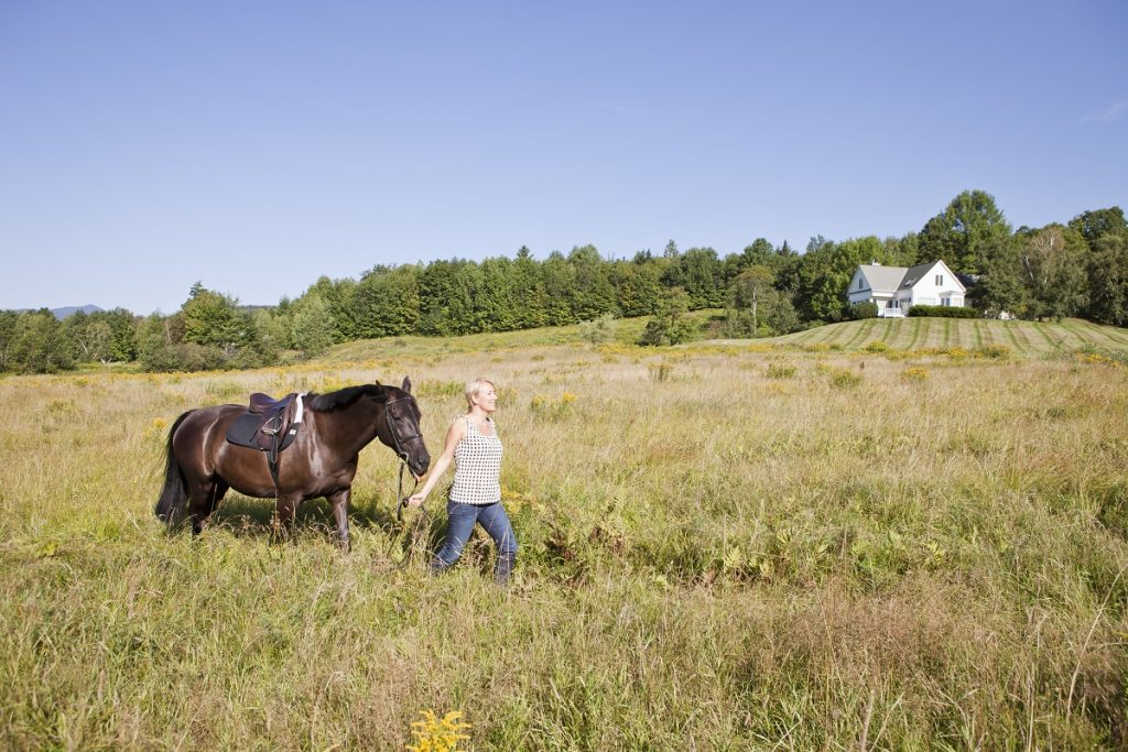 Woman leading horse through field with house in the distance