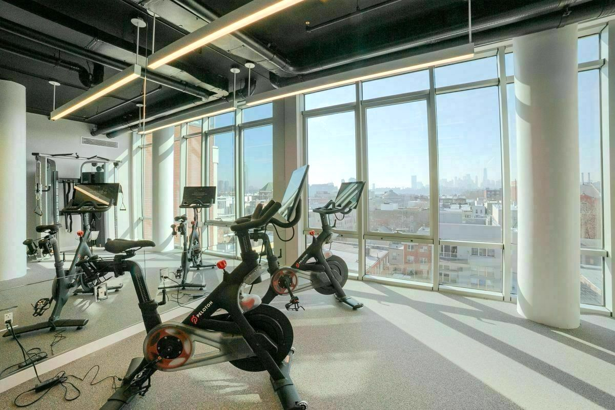 Peloton room in Greenpoint brooklyn apartment building