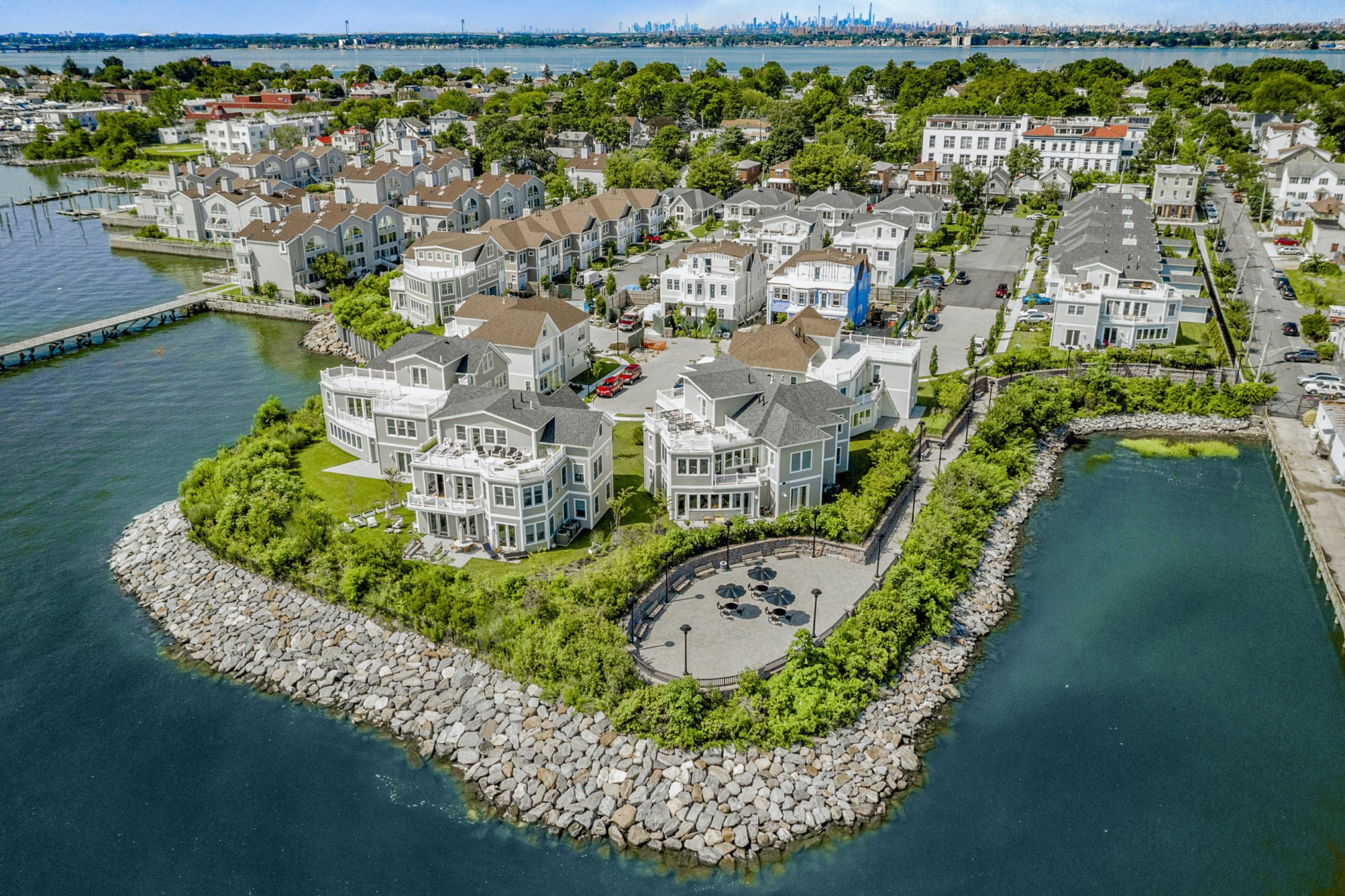 Aerial shot of condos on City Island a nyc beach town