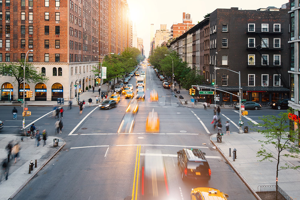 New York City intersection with traffic