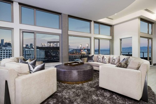 most expensive apartments in America modern living room view of city