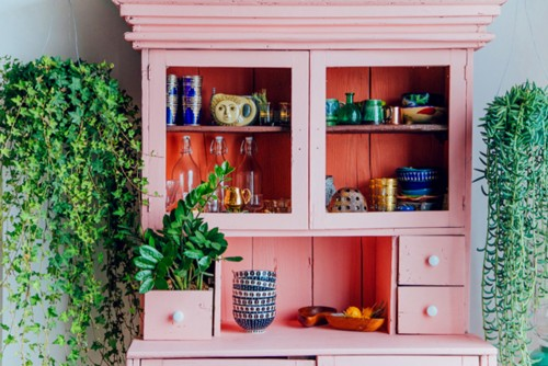 pink cabinet in kitchen with plants