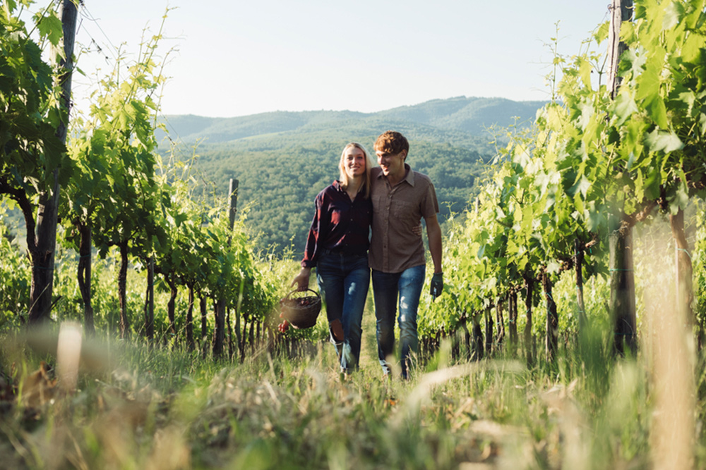 Couple walking in vineyard bought with va loans