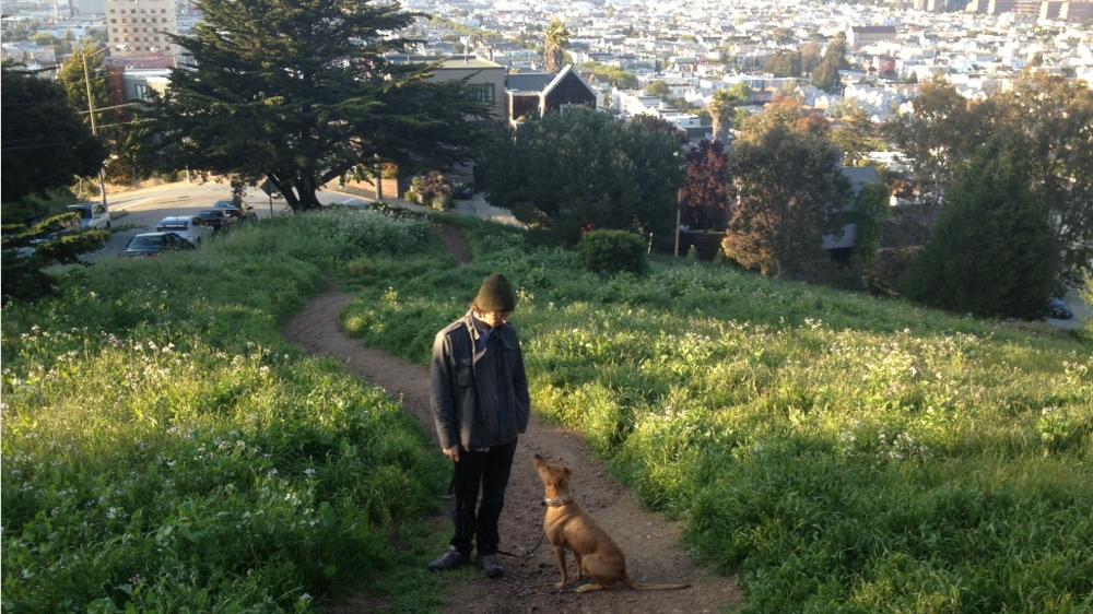 A San Francisco local loving a walk in Bernal Heights