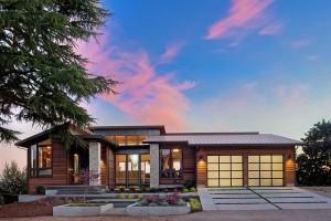 20 percent down payment modern home exterior at sunset