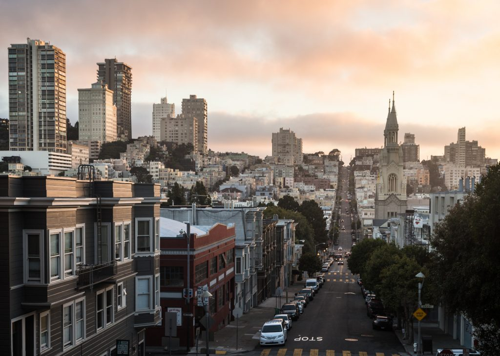Sunset over Russian Hill in San Francisco, California, USA