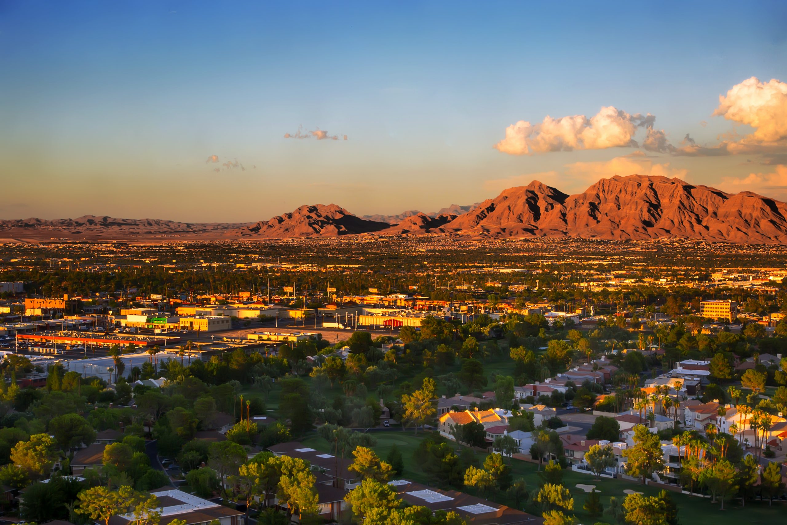 Aerial photo of single family neighborhood in Las Vegas with mountains in the background