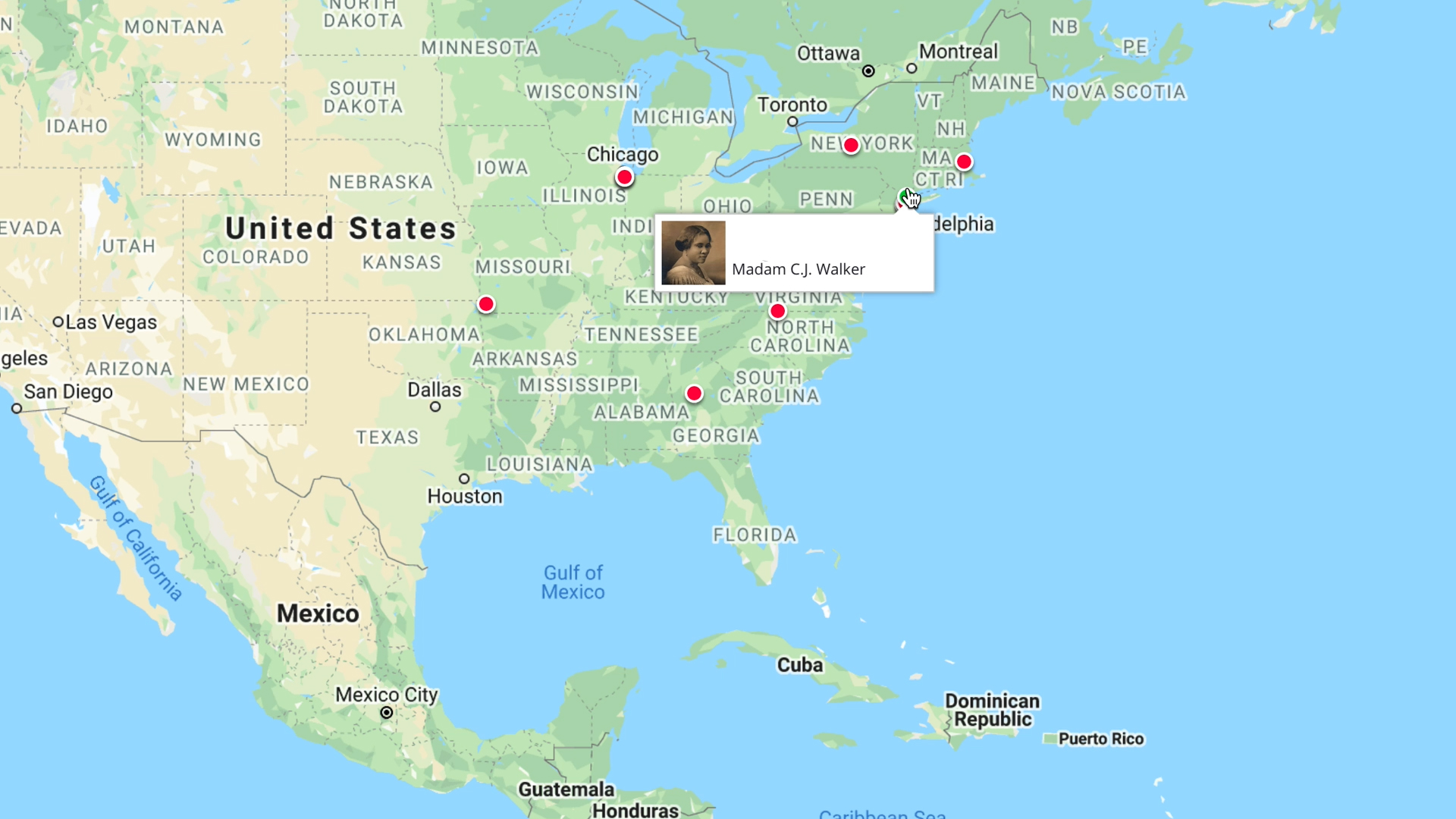 Screenshot of map of the United States from the Blacks Across America application created during Zillow Hack Week 20