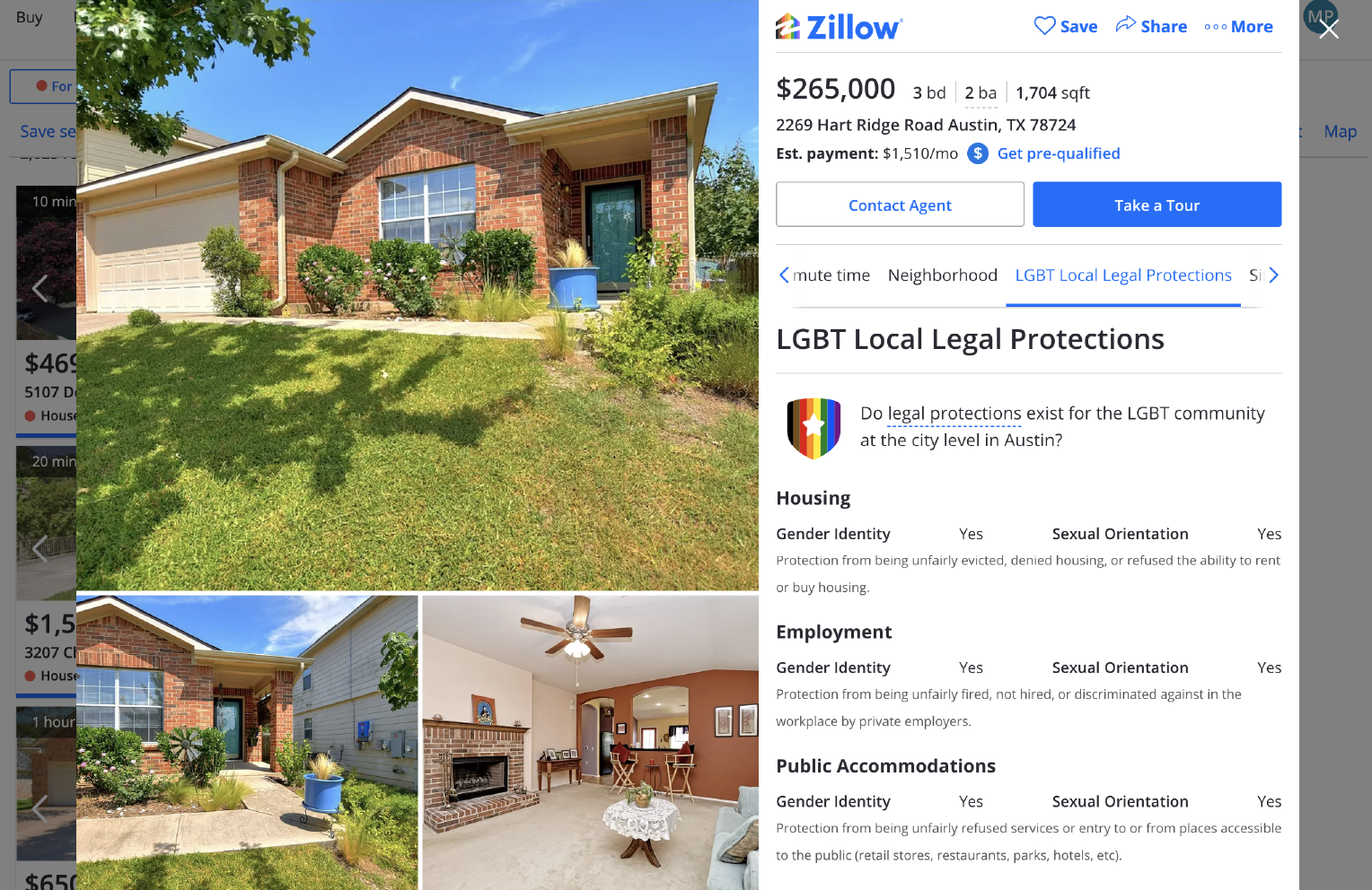 Screenshot of a Zillow listing that includes fair housing legal protections information.