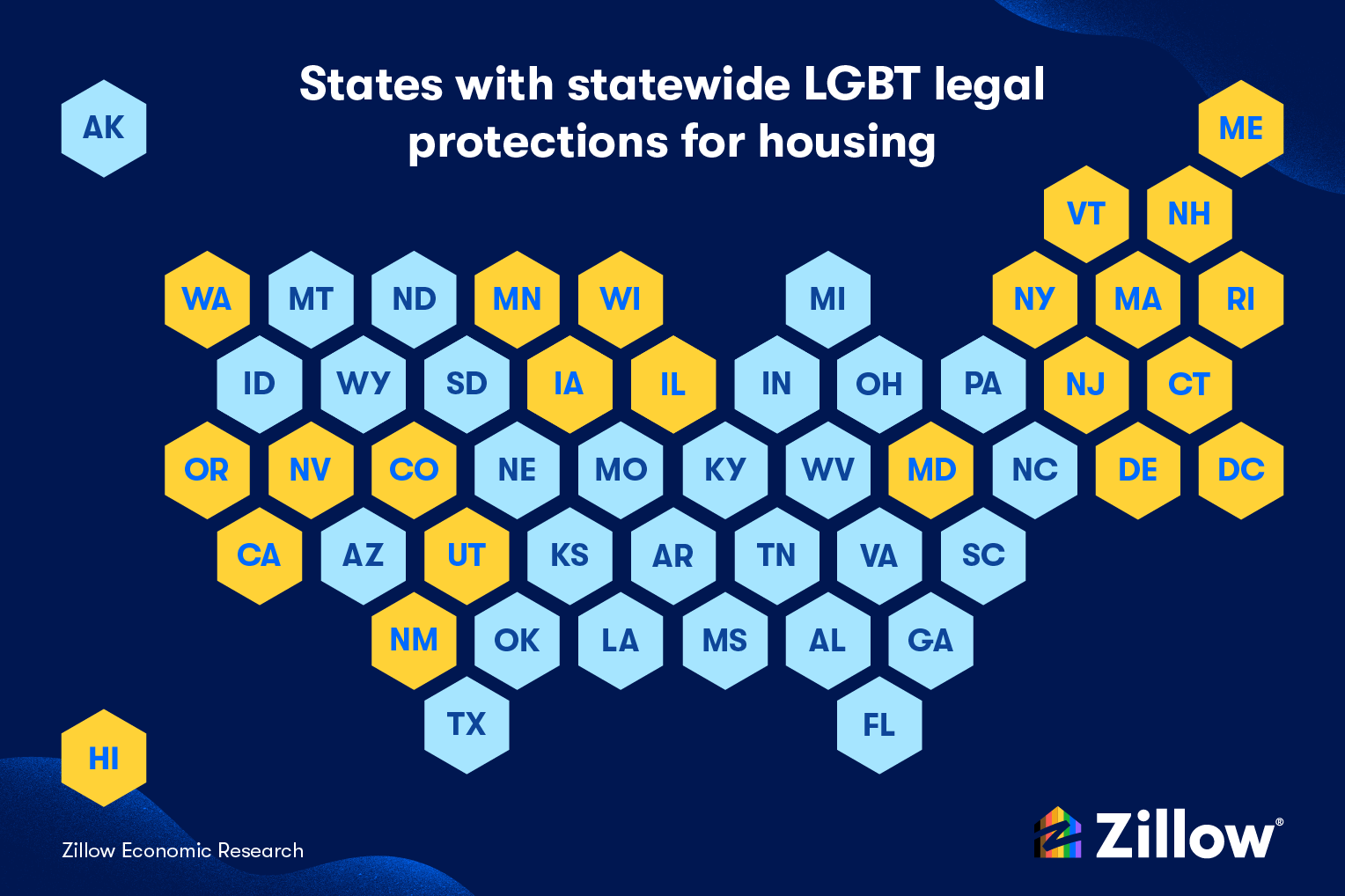map of the united states that highlights states wtih statewide LGBT legal protections for housing