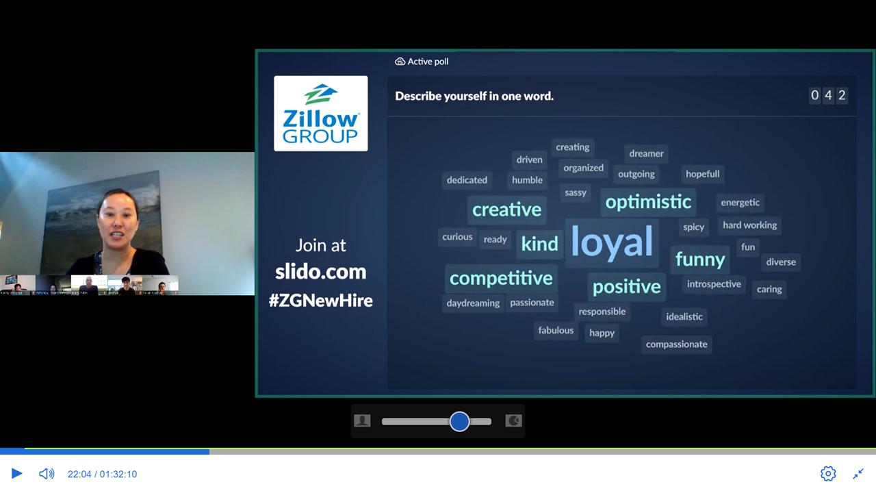Zillow's Sarah McLamb conducts online poll among new hires participating in video conference session