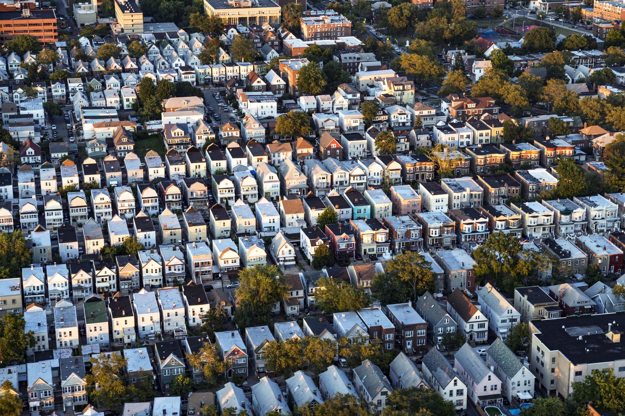 Aerial view of a dense residential district