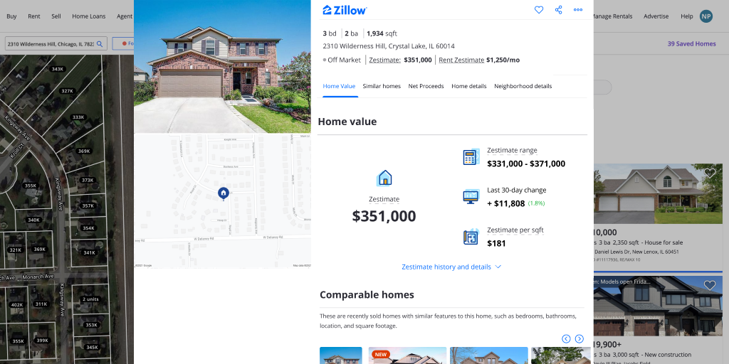 Image of a Zillow house detail page