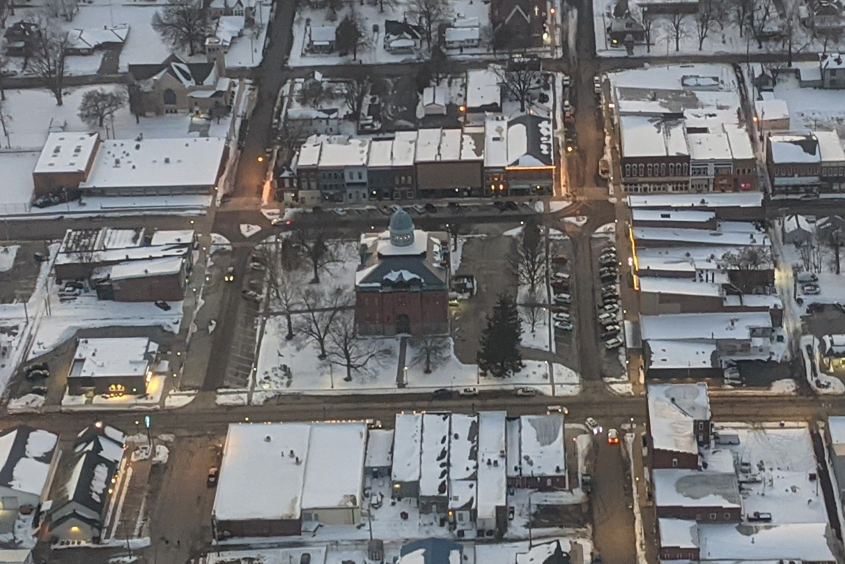 aerial view of historic town square