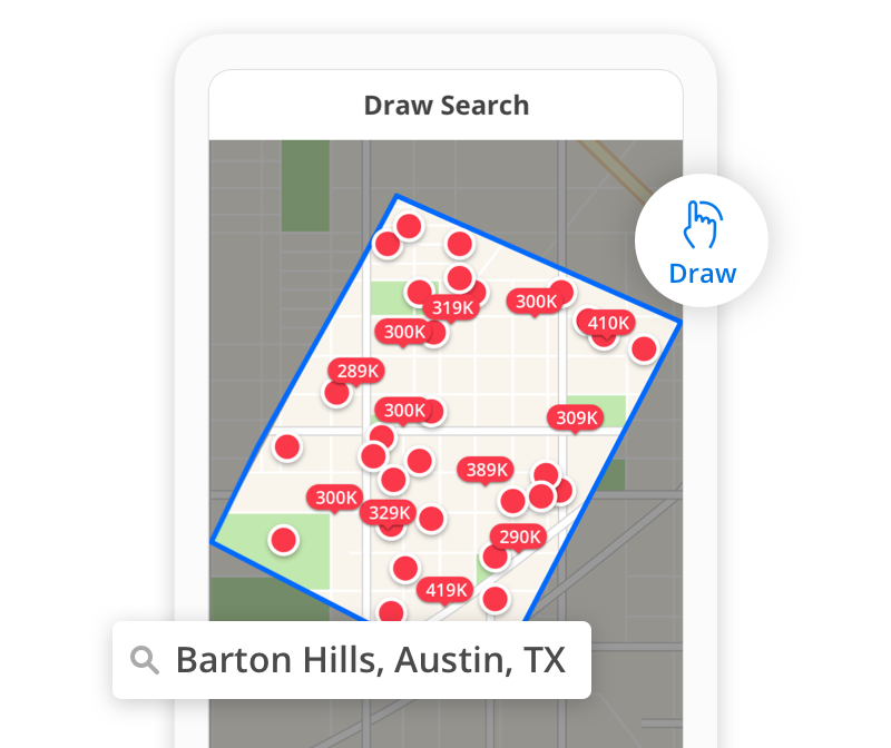 screen shot of Zillow mobile application with draw boundaries feature highlighted