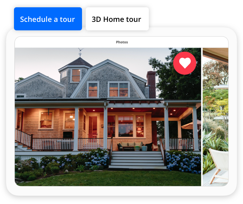 screen shot of Zillow mobile app with 3D tour feature highlighted