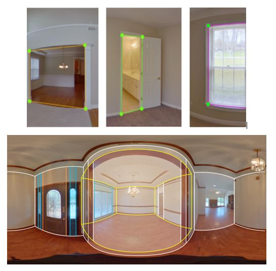 photos home interiors, with windows, doors and openings circled
