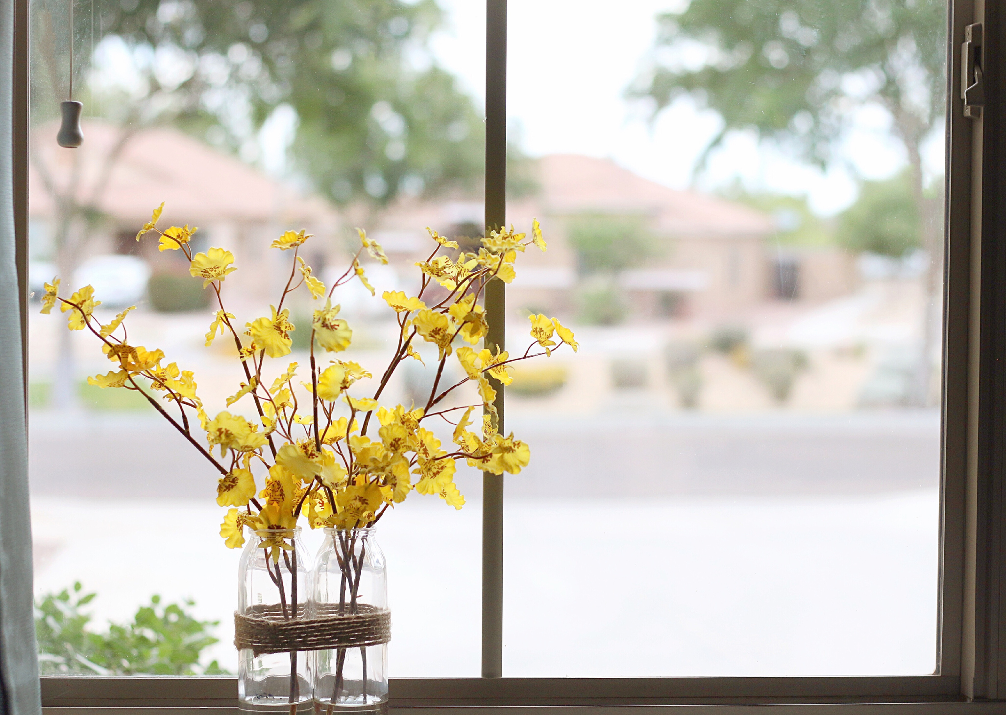 window sill with vase of spring flowers